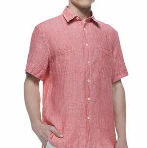 Marks & Spencer Short-Sleeve Linen Shirt Light Red